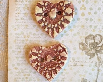 Handmade Ceramic Buttons ( Set Of 2 ) Heart Shaped Burgundy Color