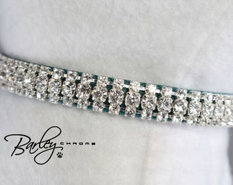 "NEW! Teal Petite Elegance Rhinestone Dog Cat Pet Collar - 3 Row Preciosa® Crystal 3/8"" Wide 10"" 12"" 14"""