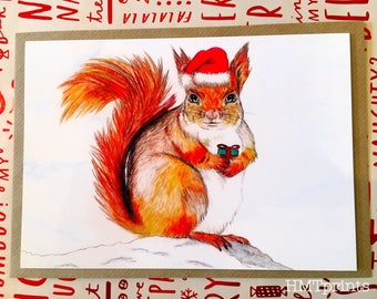 Cute Red Squirrel Greeting Card, squirrel christmas card, squirrel card, cute card, funny squirrel card