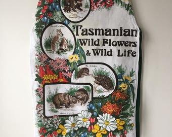 Tasmanian apron linen bib souvenir apron  handmade tea towel apron wildflowers and wildlife in Tasmania bright colorful.