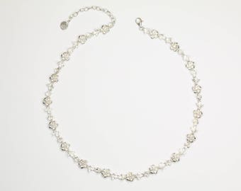 Silver Plumeria necklace with cubic zirconia, silver chain 925, flower, noble stone, wedding, engagement, handmade