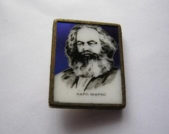 Old commemorative USSR Soviet pin badge Karl Marx #5