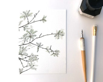 original watercolor painting of a tree in spring