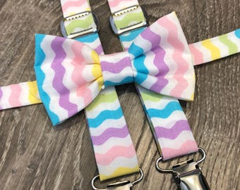 Easter bow tie and suspender set - pastel bow tie and suspenders - kids easter suspenders - easter chevron bow tie- bunny suspenders -