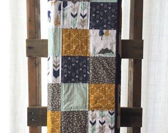 Modern Baby Quilt, Woodland Quilt, Arrow Quilt
