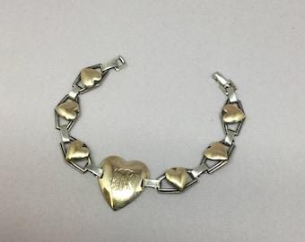 Vintage Sterling And Gold Plated Heart Bracelet