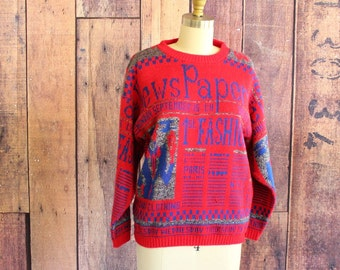 1980s sweater . red and blue vintage newspaper sweater, womens small medium