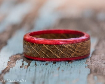 Red Whiskey Barrel Wood Ring - Tennessee Whiskey Reclaimed Wood Wooden Ring Mens Wedding Band Womens Engagement Ring Wood Anniversary Gift