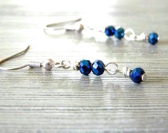 Blue Iris Glass Earrings Dangle Earrings