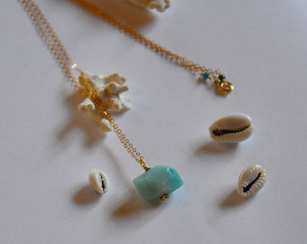 """Fine turquoise stones and amazonite with chain gold plated necklace 14 k: """"Fantine"""" model"""