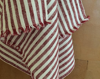 Linen Tea Towel, White Striped Linen Tea Towel, Red Striped Linen Tea Towel