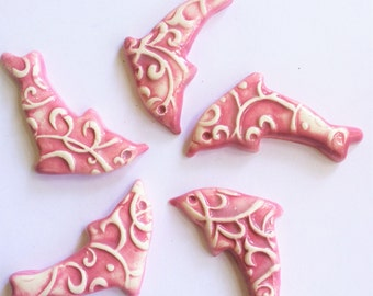 5 Pink Handcrafted Dolphin Ceramic Tiles That Can Be Used In Mosaic And Other Mixed Media Projects