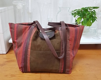 Nubuck and canvas tote