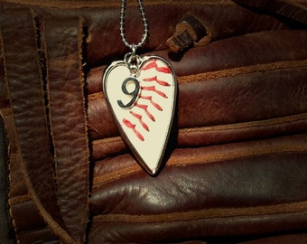 Baseball Necklace Featuring Your Player's Number - Made from real baseball