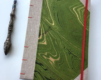 Marbled paper journal, green marbled notebook, coptic notebook, natural cloth