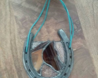 Repurposed stained glass horseshoe - horse - pony - equestrian - country - ranch - farm - americana - suncatcher - recycled