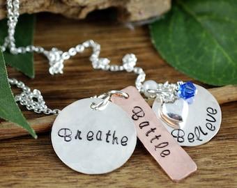 Inspirational Necklace   Breathe Battle Believe   Hand Stamped Necklace   Encouragement Necklace   Motivational Jewelry   Cancer Inspiration