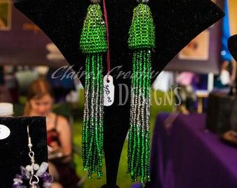 Green and Silver Tassel Earrings/Beaded/Handmade/ House Tassel Earrings/ Black Tie Earrings/ Formal Earrings