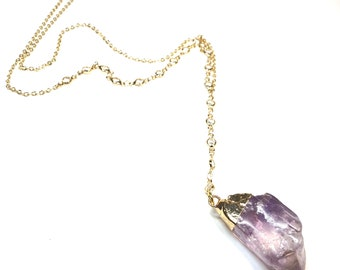 Gold filled Y necklace. Amethyst Stone and Crystals