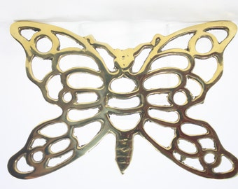 Vintage Brass Butterfly Trivet/Hot Plate, Made in Thailand