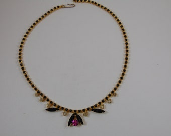 Vintage Clear, Pink Rhinestone and Black Navettes on Gold tone Choker Necklace Stunning