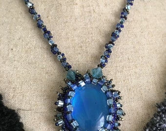 Blue Beadwoven Necklace,