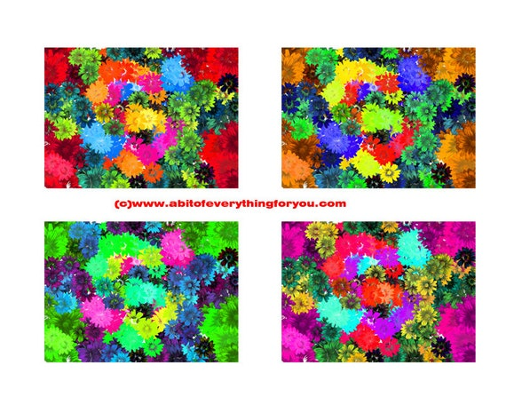 "4 large floral daisy flowers background patterns 12"" x 16.6"" backdrops abstract art printable digital download image graphics floral prints"