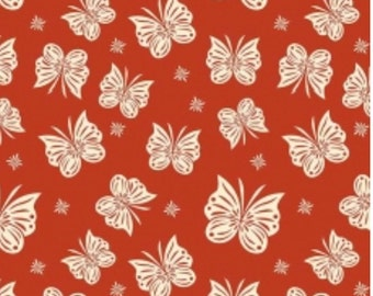 Red Knit, Acorn Valley Flutter in Red Knit, Riley Blake, Butterfly fabric