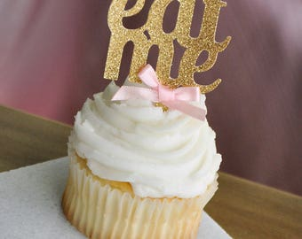 Alice in Wonderland Party Decorations.  Handcrafted in 2-5 Business Days.  Eat Me Cupcake Toppers 12CT.