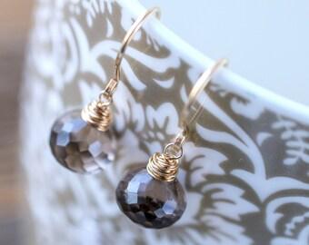 Smoky Quartz Earrings, Simple Chocolate brown Jewelry, Petite Dangle Drop Gemstone Earrings, 14K Rose Gold Filled Sterling Silver