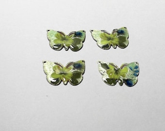 Vintage Guilloche Light Green Butterflies with Yellow and Blue Flower Charm Connector - Set of 4