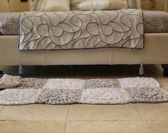 Bedside Rug, Housewarming gift, Crochet Floor Rug, Modern White Rug, Modern Crochet Rug, Scandinavian Rug, Bedroom Rug, White Area Rug, Gift