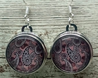 Pale Pink Paisley Glass Cabochon Earrings with 925 Sterling Silver Wire Hooks