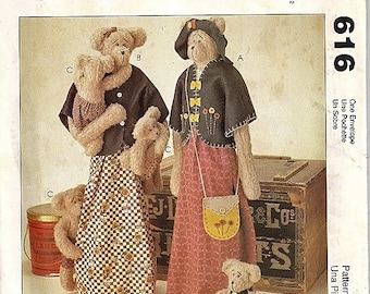 Sew Many Bears/ Stuffed Mother and Baby Bears / McCall's uncut Sewing Pattern 616