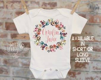 Rustic Rose Wreath Baby Name Personalized Onesie®, Customized Onesie, Woodland Style Onesie, Boho Baby Onesie, Girl Name Onesie - 355O