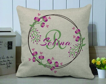 Personalized Decorative Pillow Cover,Custom Baby Girl Name Pillow Case,Wedding Anniversary Gift,Spring Floral Pillow,Mother's Day Gift