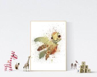 Finding Nemo Poster Print - Squirt | Watercolour Painting | Kids Room Art | Digital Download | Disney | Turtle | Baby | Nursery Decor