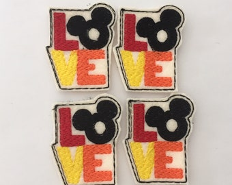 Love Mouse Set of 4 - Tree Feltie - Love Feltie - Mouse Feltie - Mickey Mouse Inspired