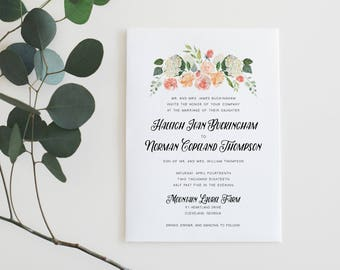 Printable Wedding Invitation Suite | Pastel Floral Invitations | Botanical Wedding Invites | Modern Wedding Invites | Cheap Invites | WI-031