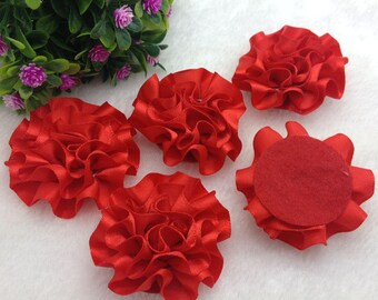5 Red Satin Flower Applique, Red Satin Flower, Red Ribbon Flower Applique, 50mm (2 inches), USA Seller,