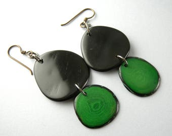 Black and Green Tagua Nut Eco Friendly Earrings with Free USA Shipping #taguanut #ecofriendlyjewelry