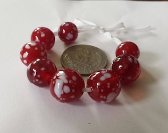 Red and White Speckled Glass Lampwork Beads, Bead Set of 8, SRA