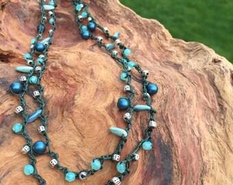 Crocheted Necklace ~ Wrapbracelet