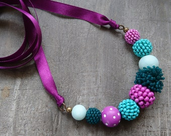 Violet and Teal Necklace, handmade beads, polymer clay jewellery, artisan jewellery