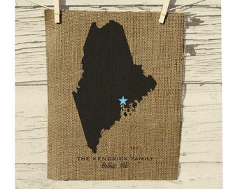Maine Map, Burlap State Map, Burlap Art, Personalized Burlap Wall Art, Frame not included, Housewarming Gift, Room Decor, Wedding Gift
