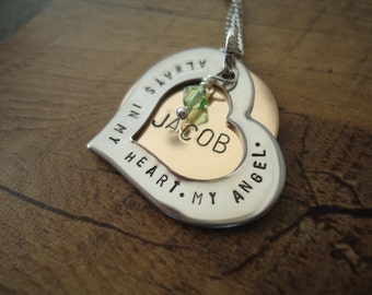 Baby Loss Birthstone Necklace with Name - Personalized Hand Stamped Necklace - In Loving Memory Necklace - Sympathy Gift - Loss of an Angel