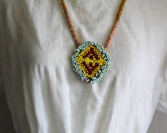 Hippie necklace with beaded Indian banjara patch,boho,gypsy vibe.
