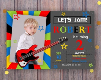 Colorful Let's jam Birthday Invitation. Guitar Birthday Invitation with photo. Any Age. Second Third Fourth Fifth Sixth.   Digital