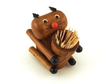 Danish modern wooden Cat No.1, Cocktail stick holder. Party stick holder. Retro party, Retro homeware.