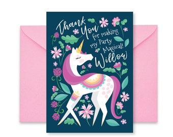 Unicorn Thank You, Girl's Unicorn Party, Floral Unicorn Thank You, Printable, Customized text, DIY invitation, Digital files
